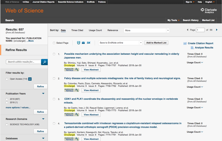 How to search Web of Science for Oncotarget articles in issues published after January 15, 2018. Step 2.