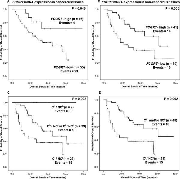 A. Kaplan-Meier overall survival analyses for FCGRT mRNA level in cancerous tissue from NSCLC patients (n=71).