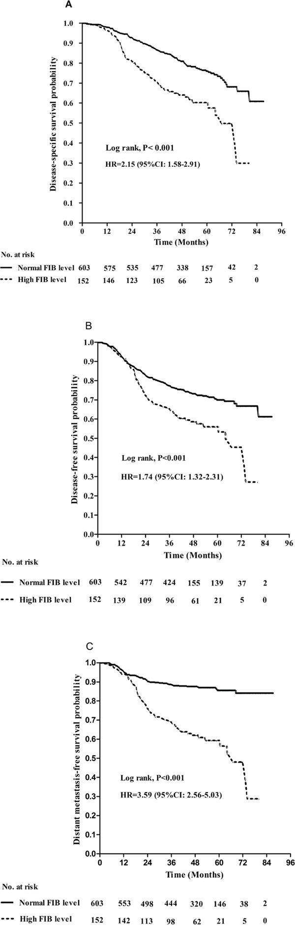Kaplan–Meier A. disease-specific survival, B. disease-free survival and C. distant metastasis-free survival curves for patients with stage IVA/B NPC stratified by pretreatment plasma FIB (> 4 g/L vs. ≤ 4 g/L).