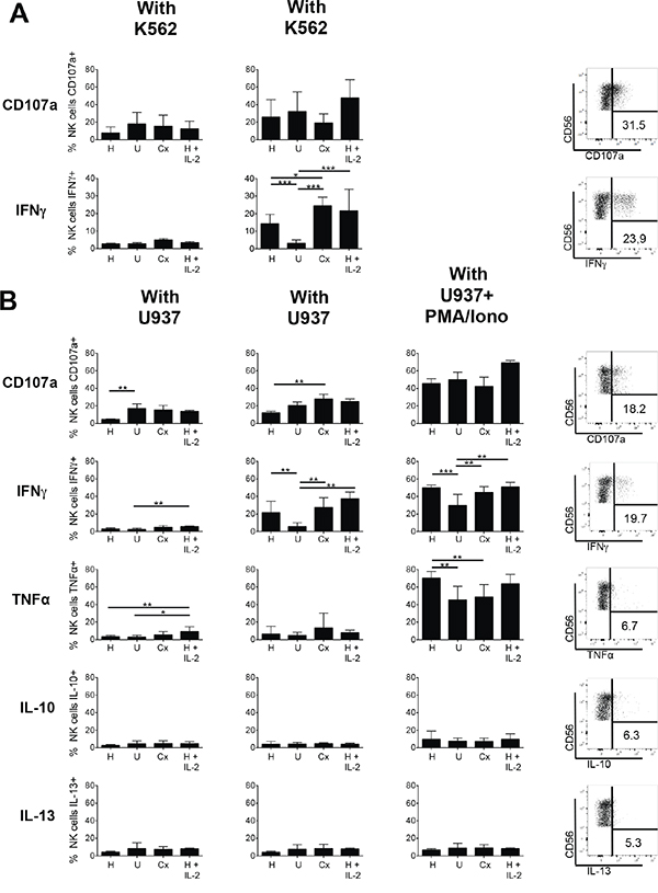 Degranulation and cytokine production of NK cells of healthy donors and AML patients.