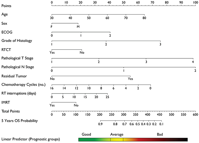 Nomogram for calculation of 5 years Overall Survival.