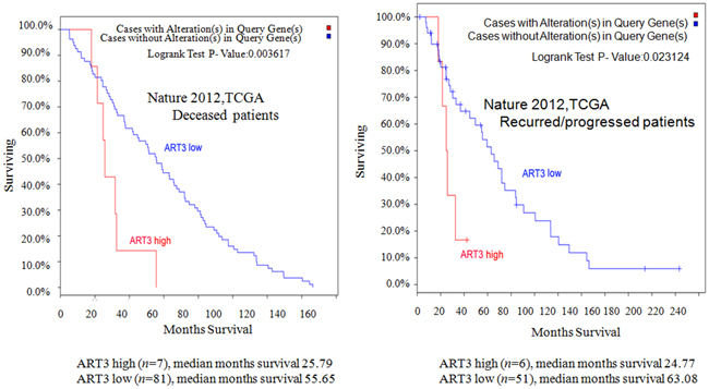 ART3 levels are correlated with shorter overall survival.