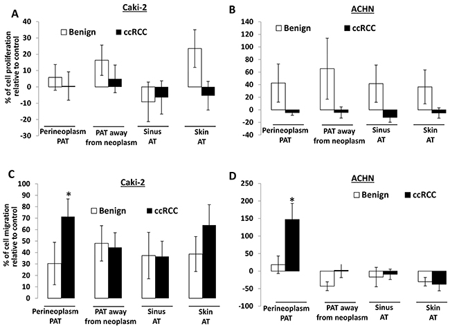 The effect of different AT CMs on proliferation and migration of Caki-2 and ACHN cells.