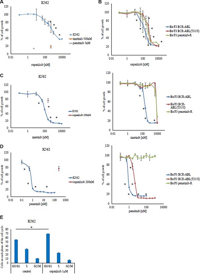 Effects of copanlisib and ABL TKI on BCR-ABL-positive cells.