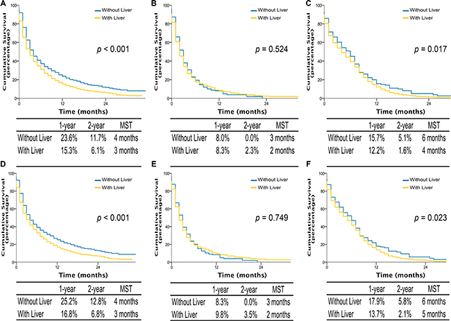 Overall survival in lung cancer patients with adenocarcinoma, squamous cell carcinoma, and small cell lung cancer with multiple sites metastases of different organ combination (A, B, and C); lung cancer-specific survival in lung cancer patients of adenocarcinoma, squamous cell carcinoma, and small cell lung cancer with multiple sites metastases of different organ combination (D, E, and F).