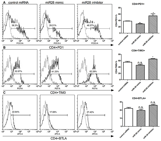 Alteration of exhaustive phenotype of T cells after transfection of miR-28 mimic and miR-28 inhibitor.