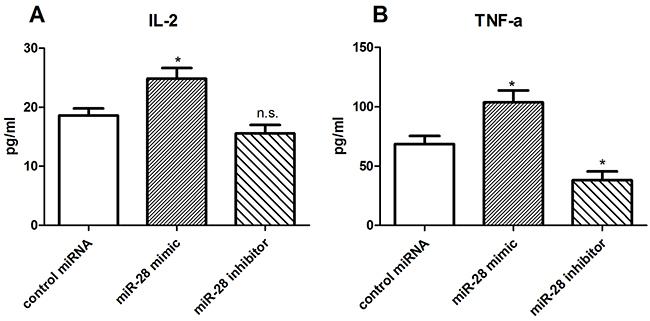 miR-28 modulating cytokine secretion of exhaustive T cells.