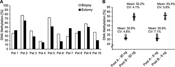 CXCL12 DNA methylation on matching biopsies and ectomy samples from ten PCa patients.