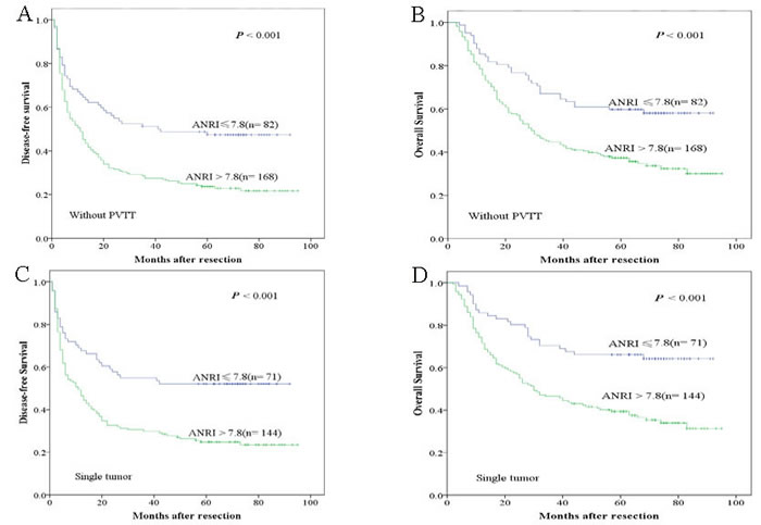 Kaplan-Meier survival curves of different HCC subgroups after hepatectomy.