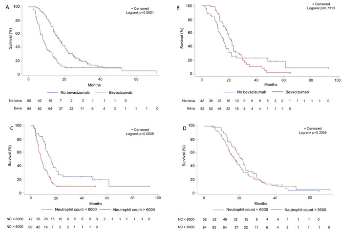 Subgroup analysis of survival in function of bevacizumab usage and neutrophil count in the training set.
