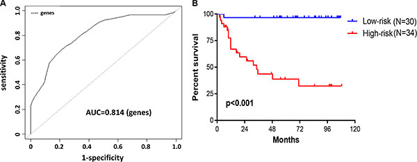 Construction of survival risk score system based on seven-gene signature.