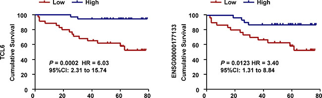 Associations between lncRNAs and survival in 71 patients with ccRCC.