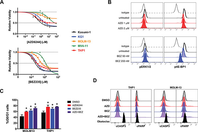 Inhibition of MAPK and PI3K signaling blocks cell cycle progression but does not induce apoptosis in human AML cell lines in vitro.