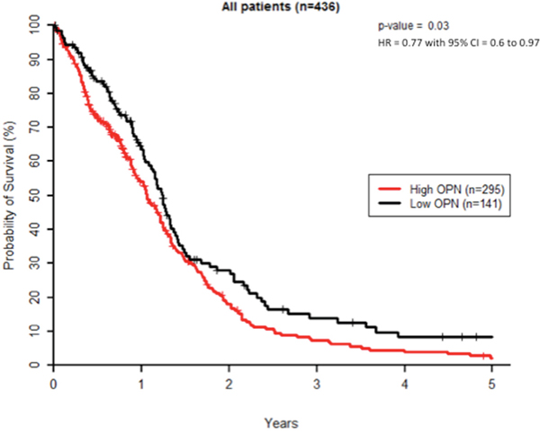High OPN expression correlates with poor survival in GBM patients.