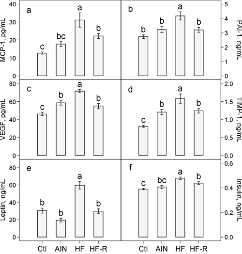 Effects of restricted feeding on plasma concentrations of a. MCP-1 b. PAI-1 c. VEGF d. TIMP-1 e. leptin and f. insulin in mice fed the high-fat diet.