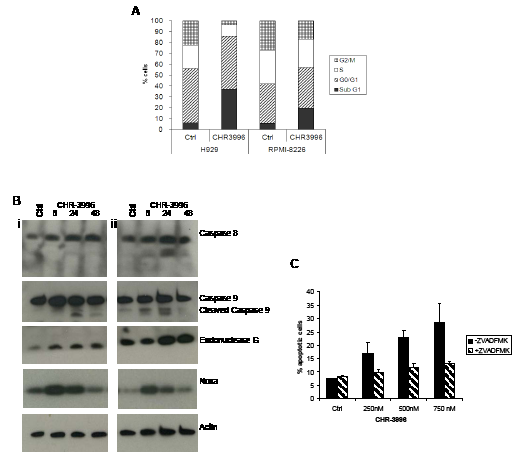 CHR-3996 induces cell cycle arrest and apoptosis via caspase-dependent and independent pathways.