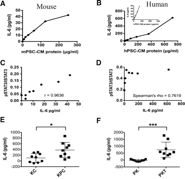 IL-6 concentration in mouse and human PSC-CM.