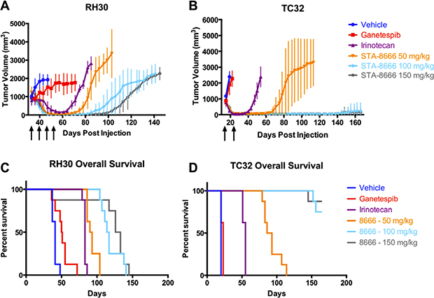 ES and RMS tumor volumes and Kaplan-Meier curves for mice treated with vehicle, ganetespib, high-dose irinotecan, or STA-8666 at varying doses.