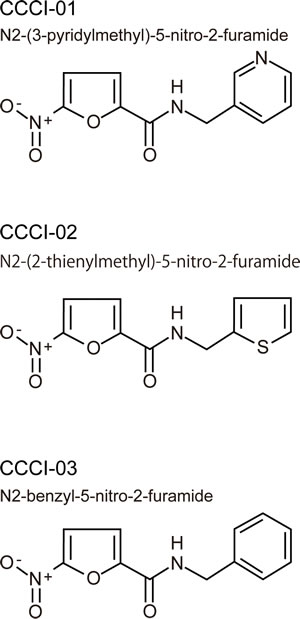 Chemical structures of three similar hits.
