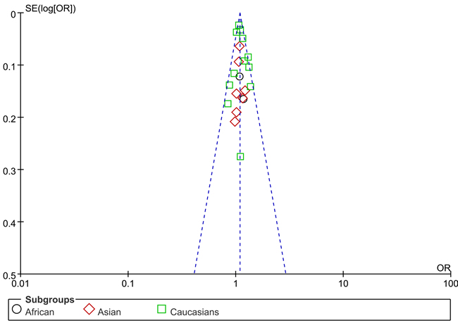 Funnel plot on the association of rs13281615 variant and breast cancer in a fixed-effect model (heterozygote comparison).