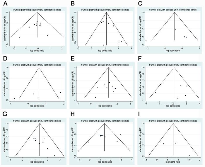 Funnel plot for publication bias test of Gli-1 related studies.
