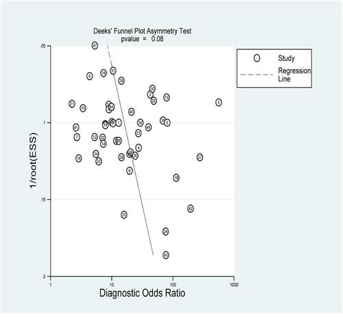 The Deek's test plot of the diagnostic meta-analysis.