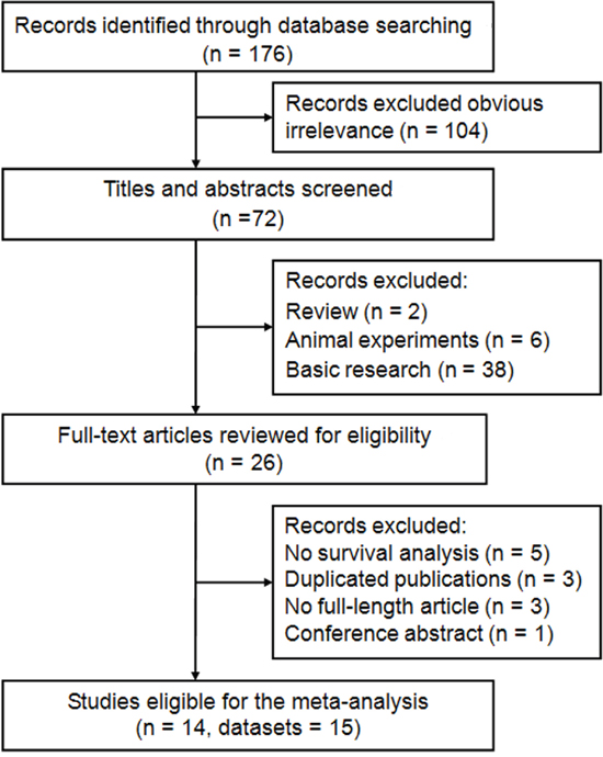 Flow diagram of the study selection process and specific reasons for exclusion in the meta-analysis.