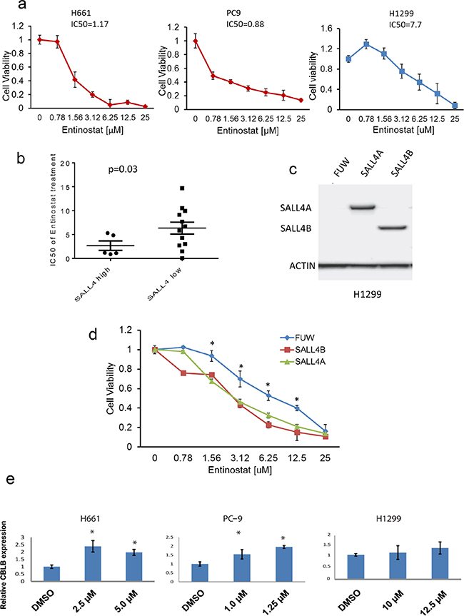 SALL4-expressing cells are more sensitive to HDACi entinostat treatment.