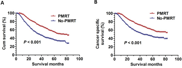 The survival curves in breast cancer patients with PMRT and No-PMRT in Sub-poor prognosis group.