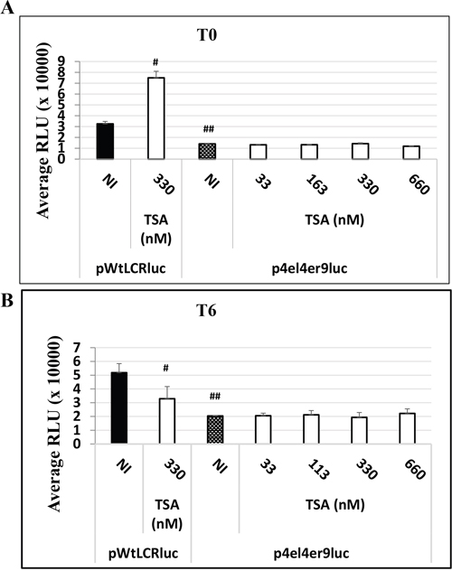 The HPV-16 LCR time-dependent transcriptional response to TSA treatment is dependent on AP-1 binding sites in HaCat cells.