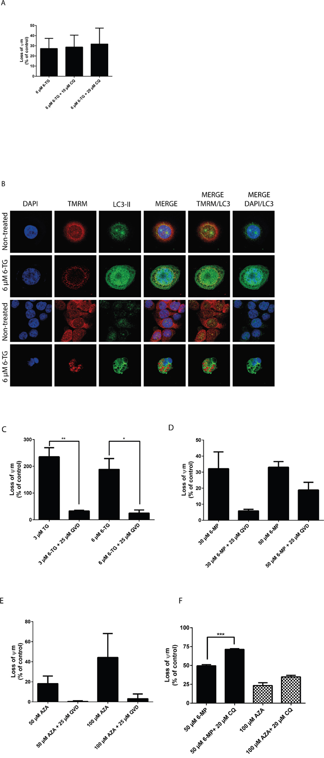 Thiopurines induced cell death is at least in part due to the intrinsic apoptotic death pathway.