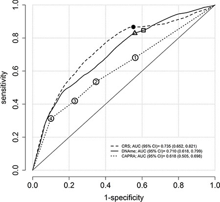 Time-dependent ROC curves at ten-years of follow-up using the semiparametric monotone sequence efficient estimator for three prostate cancer risk scores.