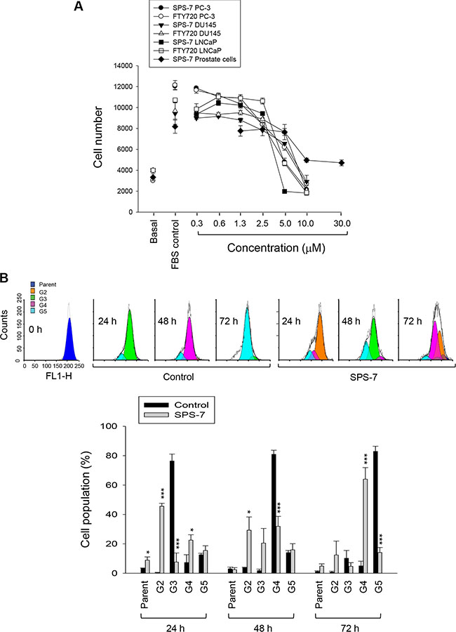 SPS-7 inhibits cell proliferation in human prostate cancer cells.