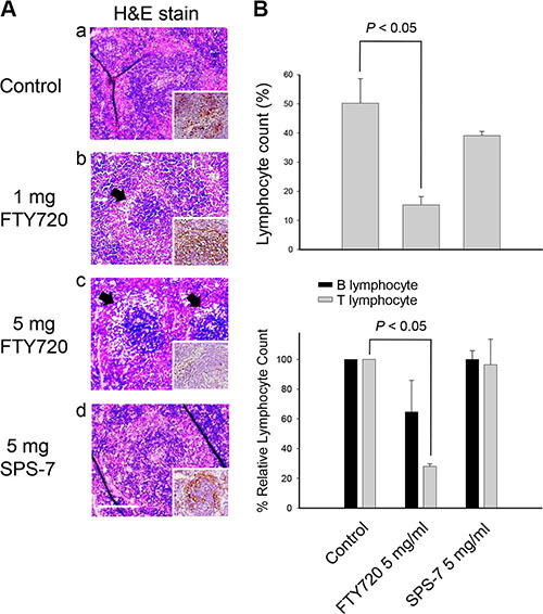 FTY720 but not SPS-7 induces immunosuppressive effect.