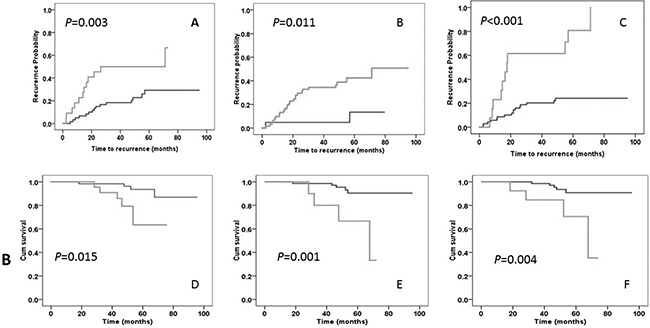 Kaplan-Meier plot of time to tumor recurrence (panels A-C) and overall survival duration (panels D-F).