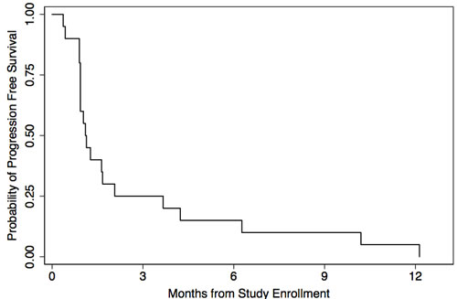 Kaplan-Meier estimated progression-free survival of 20 response-evaluable patients treated with sirolimus, topotecan, and cyclophosphamide therapy.