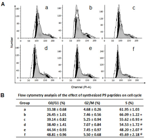 Flow cytometry analysis of the effect of the synthetic P9 peptides on cell cycle distribution of bFGF-stimulated cells.