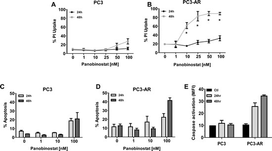 (A-B) PC3 cells and PC3-AR cells were treated with increasing concentrations of panobinostat (PAN) for 24 and 48 hours.