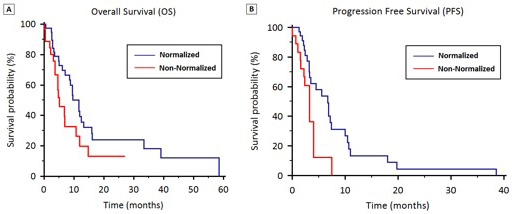 OS (2A) and PFS (2B) stratified by hyponatremia normalization during first-line therapy.