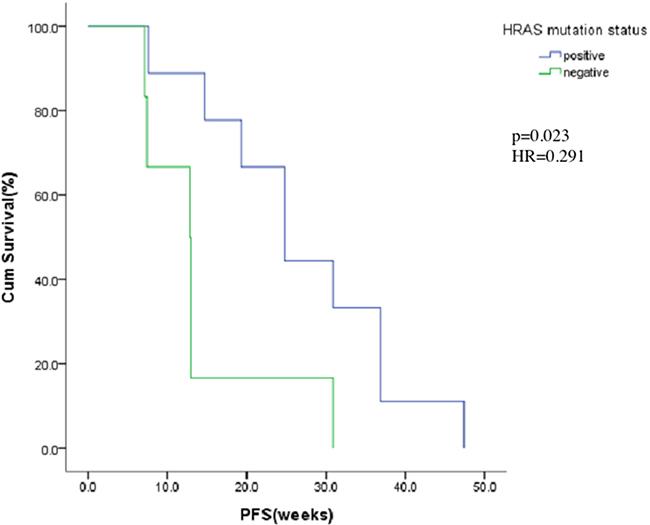 Kaplan-Meier estimates of progress-free for HRAS mutation positive or negative.