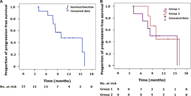 Kaplan-Meier curves of progression-free survival (PFS) for the 15 patients who received crizotinib therapy.