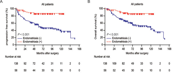 Analyses of progression-free survival and overall survival according to endometriosis in all patients.