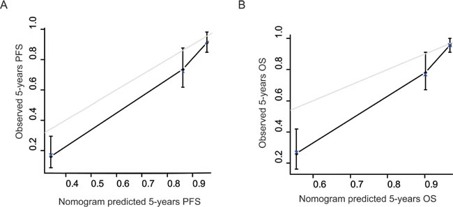 The calibration curves for predicting patient survival at each time point.