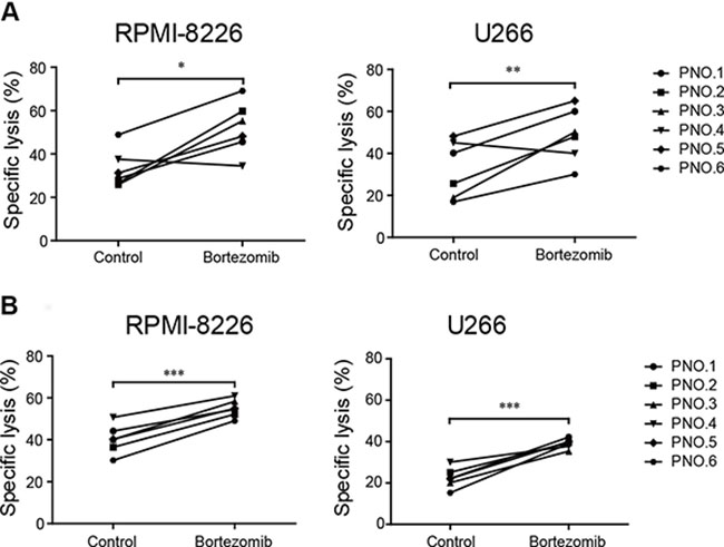 Low-dose bortezomib treatment enhanced the sensitivity of MM cells to induced NK and γδ T cell-mediated lysis.