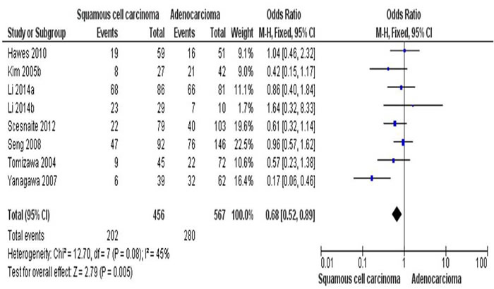The combining estimates of the odds from 8 studies containing 456 of squamous cell carcinoma (SCC) and 567 of adenocarcinoma (AC) is 0.68 ( 95% C, 0.52-0.89,