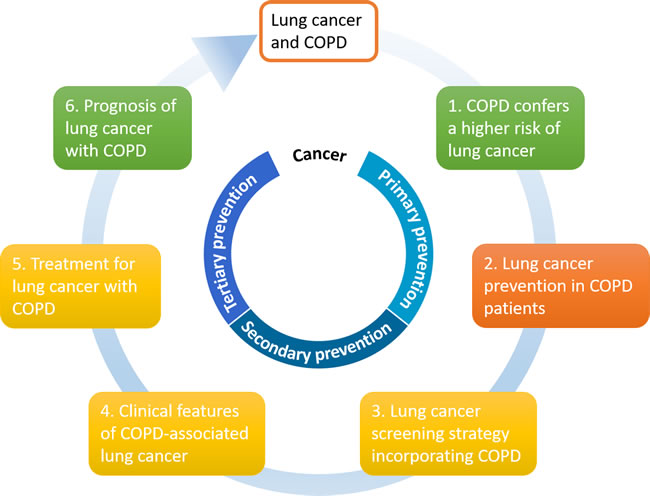 Clinical epidemiologic association between COPD and lung cancer in six areas.