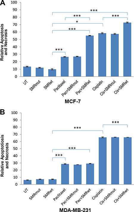 PEG-SMRwt-CLU peptide antagonist increased cytotoxicity in MCF-7 but not in MDA-MB-231 breast cancer cells.