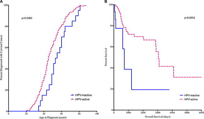 Diagnosis (A) and Survival (B) are compared between HPV-active (dashed line) and HPV-inactive (solid line) patients.