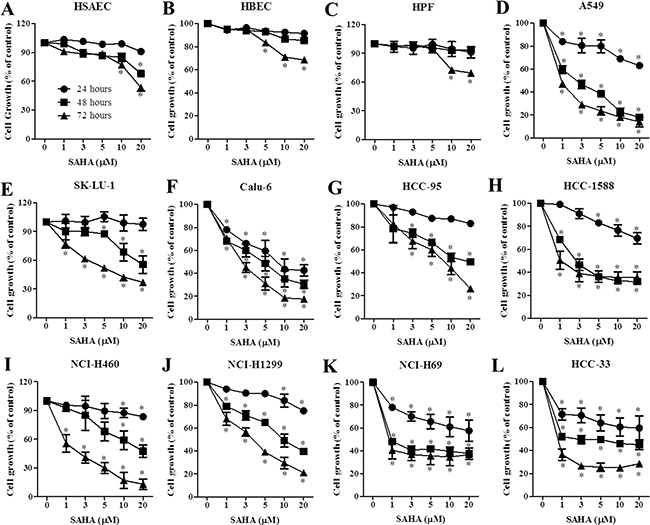 Effects of SAHA on cell growth in normal lung and cancer cells.