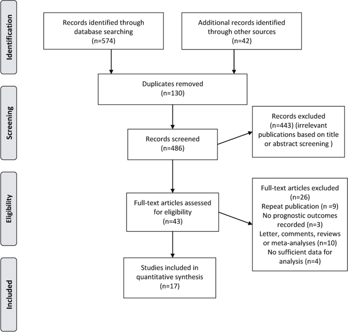 Flow diagram of selection of studies investigating effect of metformin intake on survival in patients with colorectal cancer.